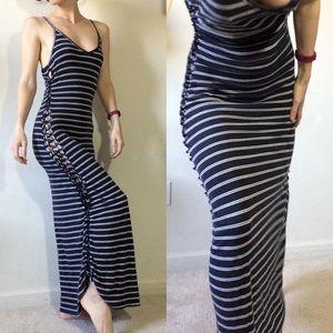 Urban Outfitters Dresses - Nautical Navy Blue White Stripes Peek A Boo Maxi